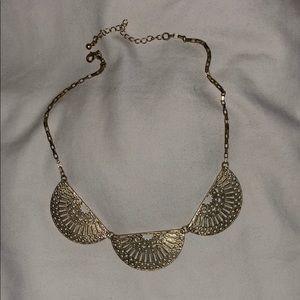 Gold Fan Shape Statement Necklace